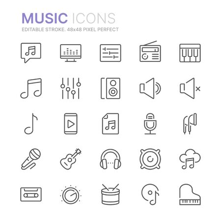 Collection of music related line icons. 48x48 Pixel Perfect. Editable stroke