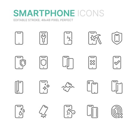 Collection of smartphone protection related line icons. 48x48 Pixel Perfect. Editable stroke