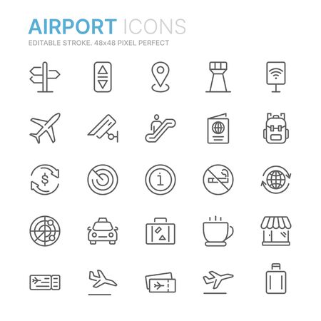 Collection of airport related line icons. 48x48 Pixel Perfect. Editable stroke