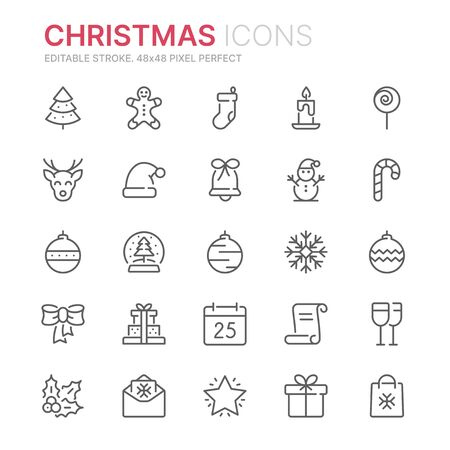 Collection of christmas related line icons. 48x48 Pixel Perfect. Editable stroke  イラスト・ベクター素材