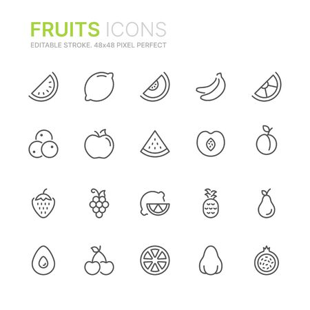 Collection of fruits line icons. 48x48 Pixel Perfect. Editable stroke