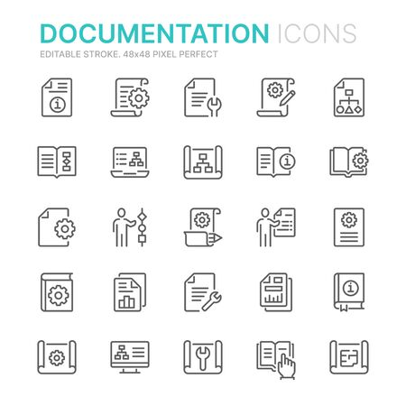 Collection of technical documentation related line icons. 48x48 Pixel Perfect. Editable stroke Vettoriali