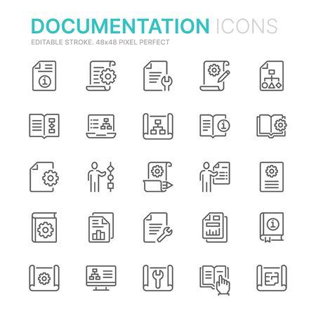 Sammlung von Liniensymbolen für die technische Dokumentation. 48x48 Pixel perfekt. Bearbeitbarer Strich Vektorgrafik