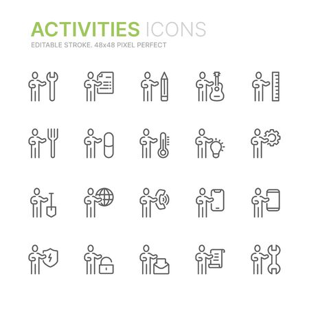 Collection of people activities, professions, occupation related line icons. 48x48 Pixel Perfect. Editable stroke