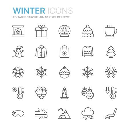 Collection of winter related line icons. 48x48 Pixel Perfect. Editable stroke