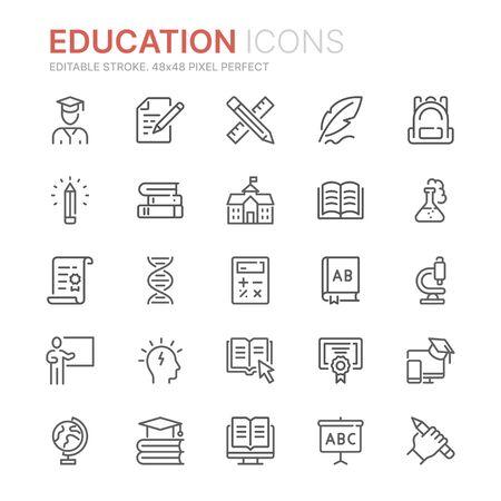 Raccolta di icone di linea relative all'istruzione. 48x48 pixel perfetti. Tratto modificabile