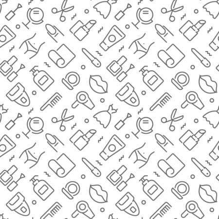 Beauty related seamless pattern with outline icons