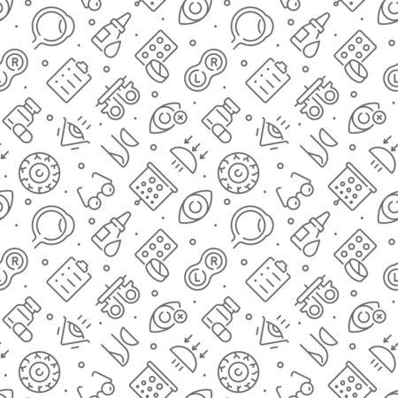 Augenheilkunde im Zusammenhang mit nahtlosem Muster mit Umrisssymbolen