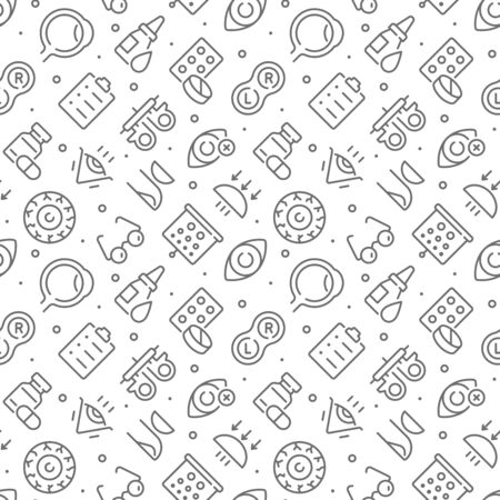 Ophthalmology related seamless pattern with outline icons Illustration