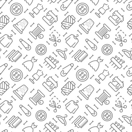 Sewing related seamless pattern with outline icons