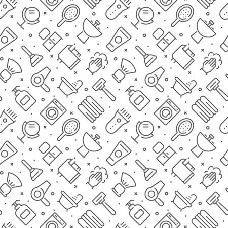 Bathroom related seamless pattern with outline icons Illustration