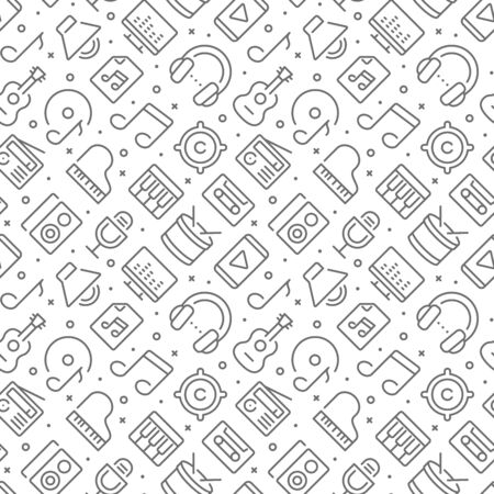 Music related seamless pattern with outline icons