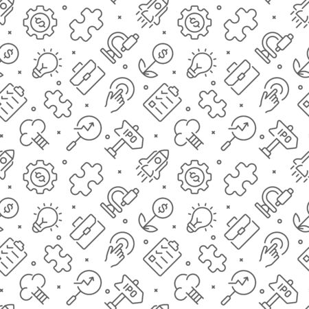 Startup related seamless pattern with outline icons
