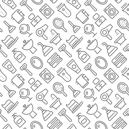 Bathroom related seamless pattern with outline icons Ilustração