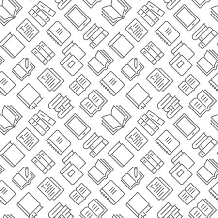 Books related seamless pattern with outline icons Ilustração