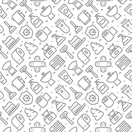 Hygiene related seamless pattern with outline icons Ilustração