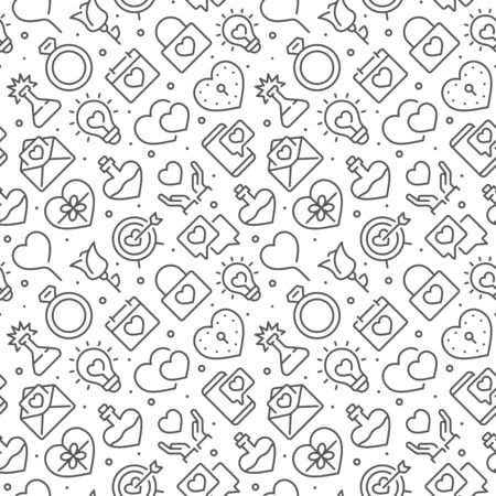 Love related seamless pattern with outline icons