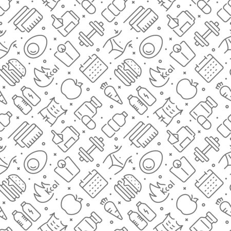 Fitness and diet related seamless pattern with outline icons Ilustração