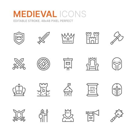 Collection of medieval related line icons. 48x48 Pixel Perfect. Editable stroke