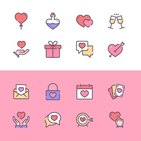 Collection of Valentines Day related line icons. 48x48 Pixel Perfect. Editable stroke
