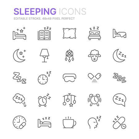 Collection of sleeping related line icons. 48x48 Pixel Perfect. Editable stroke