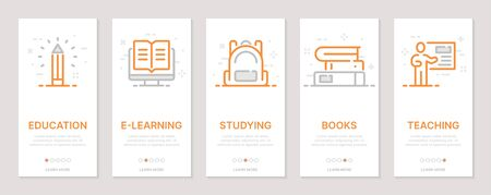 Education, e-learning, studying, books, teaching vertical cards. Templates for a website. Icons with editable stroke Ilustração