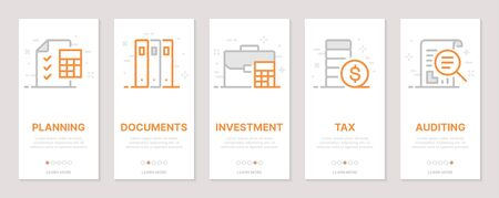 Accounting, planning, auditing, investments vertical cards. Templates for a website. Icons with editable stroke Ilustração