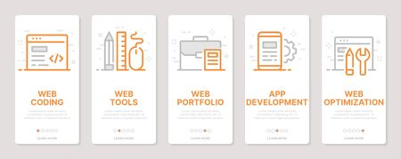 Web development related vertical cards. Mobile app onboarding screens Templates for a website. Icons with editable stroke Ilustração