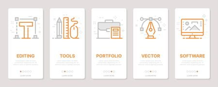 Web design related vertical cards. Mobile app onboarding screens Templates for a website. Icons with editable stroke Ilustração