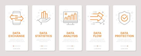 Data related vertical cards. Mobile app onboarding screens Templates for a website. Icons with editable stroke