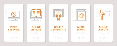 Web development realted vertical cards. Mobile app onboarding screens Templates for a website. Icons with editable stroke Ilustração