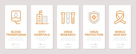 AIDS realted vertical cards. Mobile app onboarding screens Templates for a website. Icons with editable stroke Ilustração