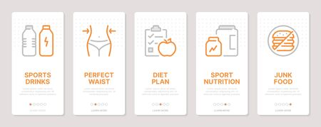 Fitness and diet related vertical cards. Mobile app onboarding screens Templates for a website. Icons with editable stroke Ilustração