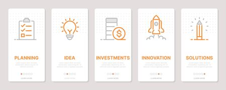 Startup related vertical cards. Mobile app onboarding screens Templates for a website. Icons with editable stroke