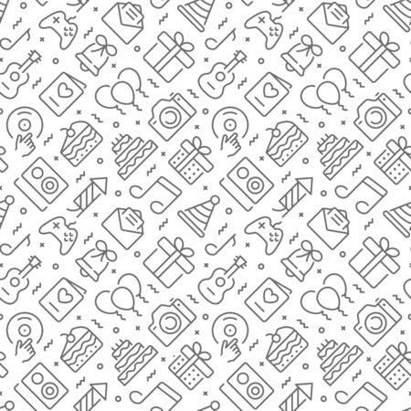 Birthday related seamless pattern with outline icons