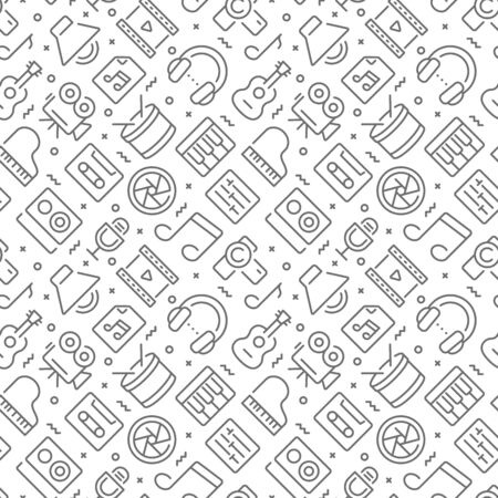 Music and video related seamless pattern with outline icons Ilustração