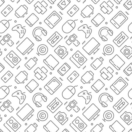 Devices related seamless pattern with outline icons Ilustração