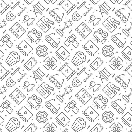 Movie related seamless pattern with outline icons