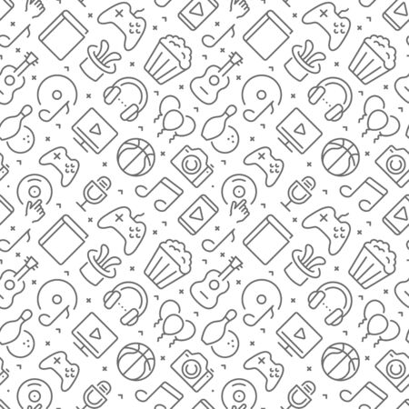 Entertainment related seamless pattern with outline icons