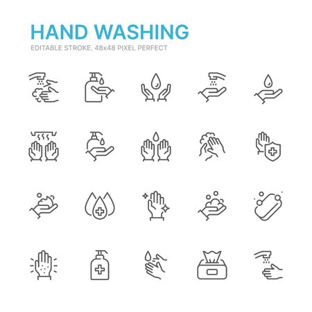 Collection of hand washing related line icons. 48x48 Pixel Perfect. Editable stroke