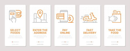 Food delivery related vertical cards. Mobile app onboarding screens Templates for a website. Icons with editable stroke Ilustração
