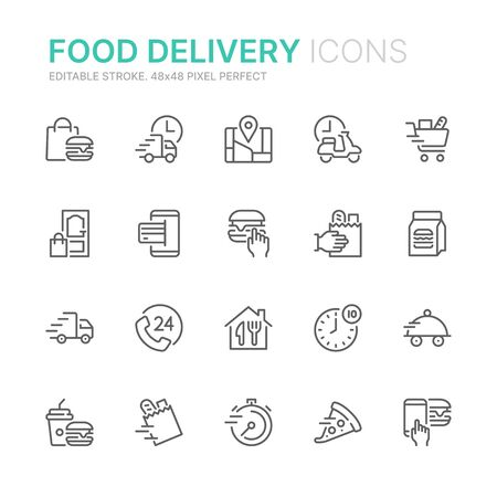 Collection of food delivery related line icons. 48x48 Pixel Perfect. Editable stroke Ilustração