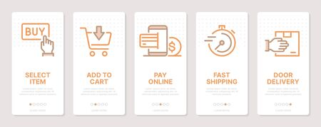 Shopping related vertical cards. Mobile app onboarding screens. Templates for a website. Icons with editable stroke