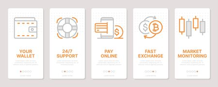 Cryptocurrency related vertical cards. Mobile app onboarding screens. Templates for a website. Icons with editable stroke Ilustração