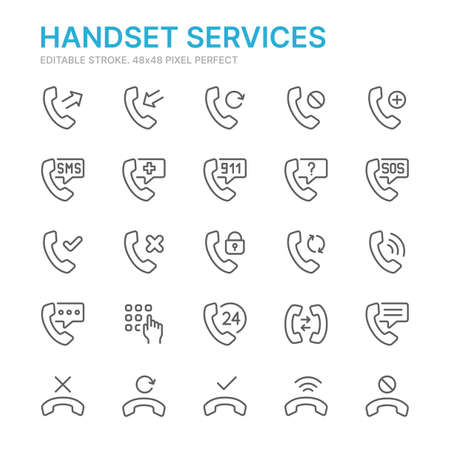 Collection of handset services related line icons. 48x48 Pixel Perfect. Editable stroke