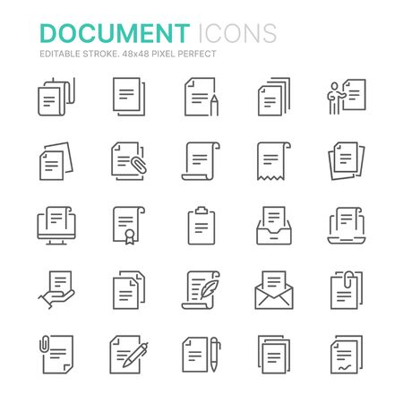 Collection of documents related line icons.