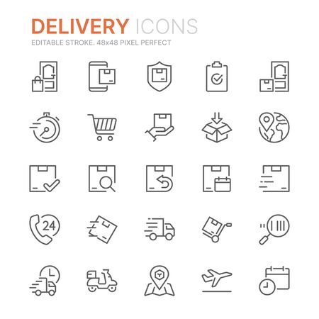 Collection of delivery related line icons. Ilustração