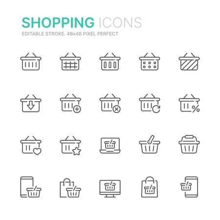 Shopping related seamless pattern with outline icons