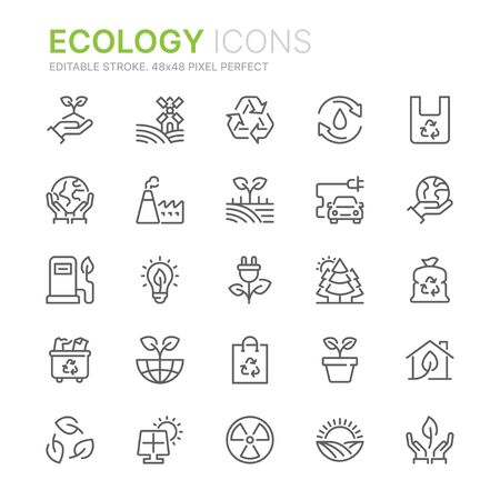 Collection of ecology related line icons. 48x48 Pixel Perfect. Editable stroke
