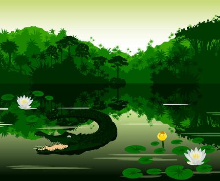Ilustración vectorial Río tropical con el cocodrilo